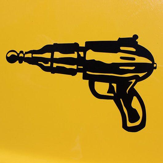 vinyl decal of a ray gun pistol