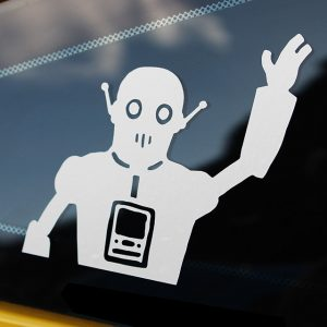 wave bot vinyl decal on car window